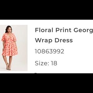 torrid Dresses - Coral floral print georgette wrap dress NWT